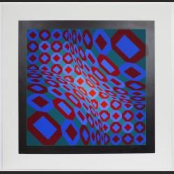 Victor Vasarely - Composición Azul, Verde y Rojo