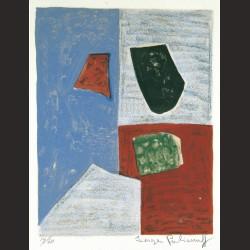 Serge Poliakoff - Composition Rose, Rouge et Bleue